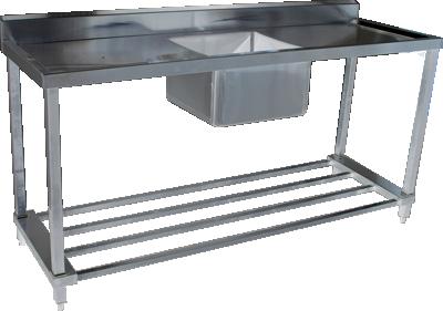 KSS 06-6 Single Sink w/ Splashback & Adjustable Pot Rack - Various Sizes (Stainless Steel)
