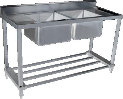 KSS 07-6 Double Sink w/ splashback & Adjustable Pot Rack - Various Sizes (Stainless Steel)
