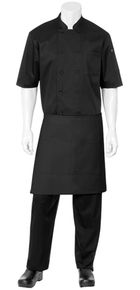 CW Black Half Bistro Apron with Pocket