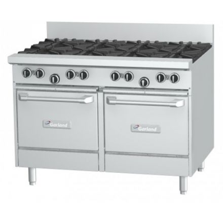 Garland GF48-8LL 8 burner range with 2 space saver ovens