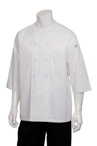 CW White 3/4 Basic Lite Chef Jacket